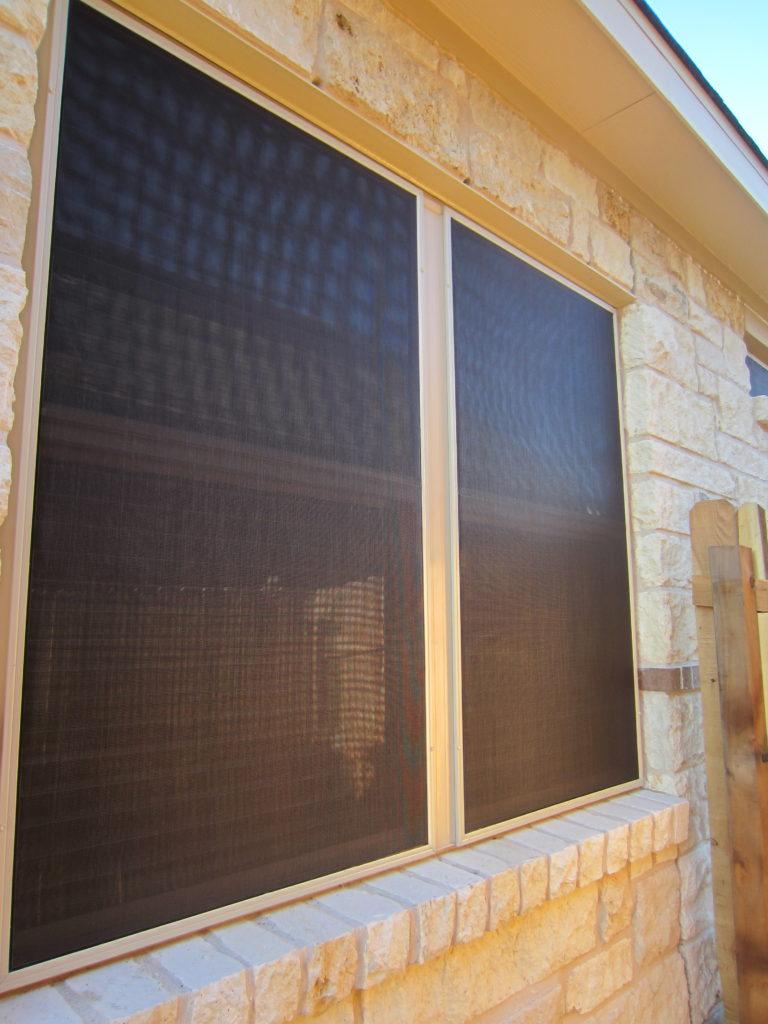 Closeup of solar window screen