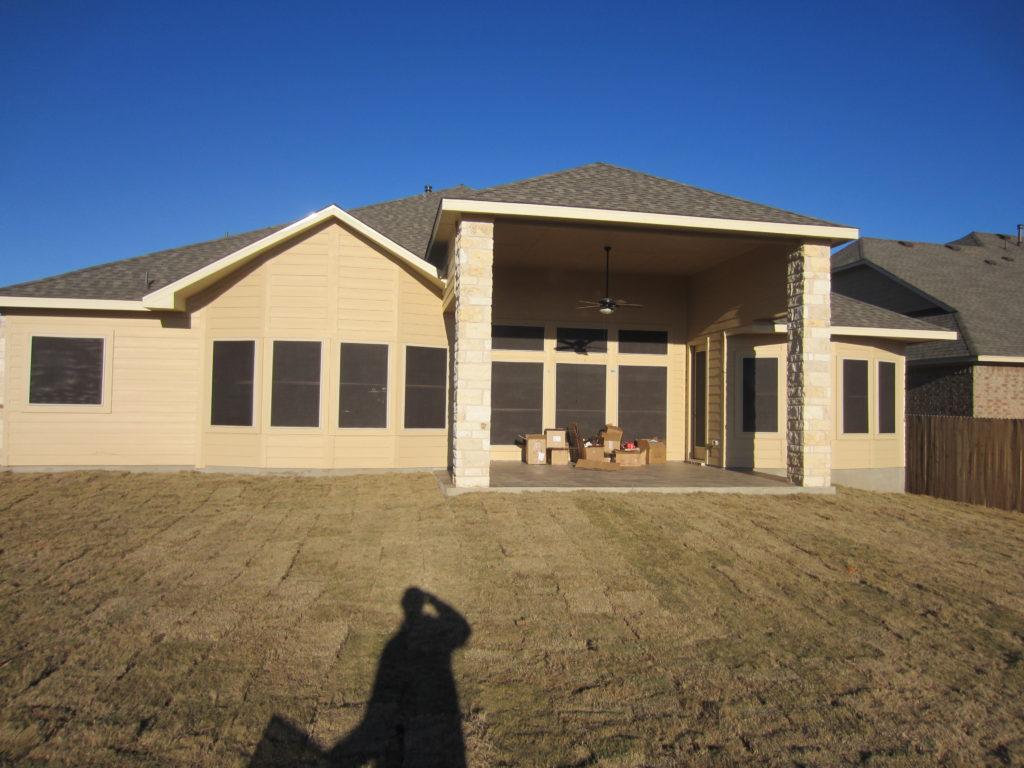 Back of home: (17) 90% solar window screens